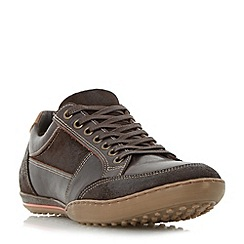 Dune - Brown 'Titan' mixed leather lace up trainer