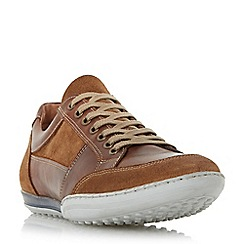 Dune - Tan 'Titan' mixed leather lace up trainer