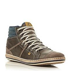 Dune - Grey 'Solar eclipse' mixed material rugged hi top trainer