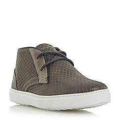 Dune - Grey 'Sultan' embossed canvas high top trainer