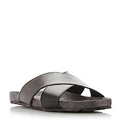 Dune - Black 'Idris' suede footbed crossover strap sandal