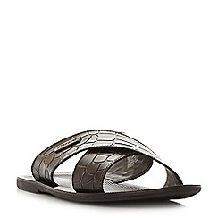 Dune - Black 'Idolise' moc croc print cross over strap sandals