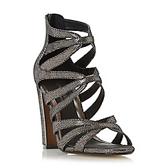 Head Over Heels by Dune - Silver 'Micha' caged block heel sandal