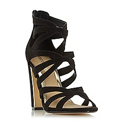 Head Over Heels by Dune - Black 'Micha' caged block heel sandal