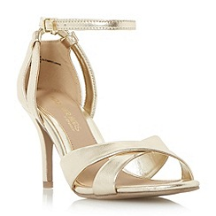 Head Over Heels by Dune - Gold 'Maddie' ankle strap two part heeled sandal