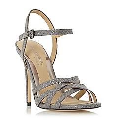 Head Over Heels by Dune - Grey 'Melainey' cross over strappy high heel sandal