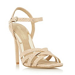 Head Over Heels by Dune - Natural 'Melainey' cross over strappy high heel sandal