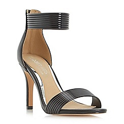 Head Over Heels by Dune - Black 'Maven' rib detail mid heel sandal