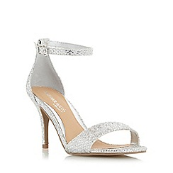 Head Over Heels by Dune - Silver 'Mora' two part mid heel sandal