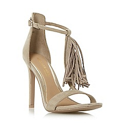 Head Over Heels by Dune - Taupe 'Malloy' fringed t-bar high heel sandal