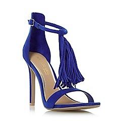 Head Over Heels by Dune - Blue 'Malloy' fringed t-bar high heel sandal