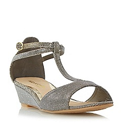 Head Over Heels by Dune - Gold 'Marsella' t-bar mini wedge sandal