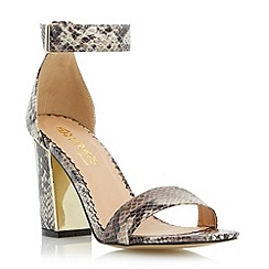 Head Over Heels by Dune - Neutral metallic insert block heel sandal