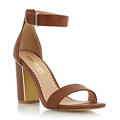 Head Over Heels by Dune - Brown metallic insert block heel sandal