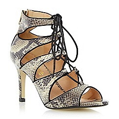 Head Over Heels by Dune - Neutral ghillie lace up mid heel sandal