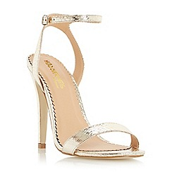 Head Over Heels by Dune - Gold 'Madam' two part high heel strappy sandals