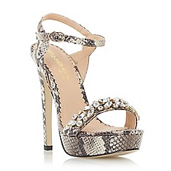 Head Over Heels by Dune - Natural 'Megara' jewelled platform sandal