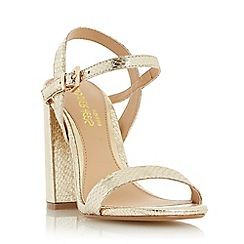 Head Over Heels by Dune - Gold 'Maylie' two part block heel sandal