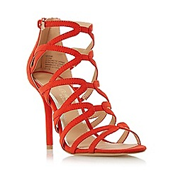 Head Over Heels by Dune - Orange 'Meemi' strappy caged high heel sandal