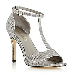 Head Over Heels by Dune - Metallic glitter t-bar heeled sandal