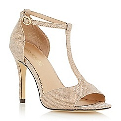 Head Over Heels by Dune - Metallic glitter lurex t-bar heeled sandal