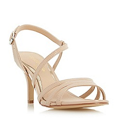 Head Over Heels by Dune - Natural 'Mattori' asymmetric kitten heel sandal
