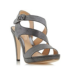 Head Over Heels by Dune - Silver 'Mallery' asymmetric strap high heel sandal