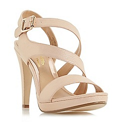 Head Over Heels by Dune - Natural 'Mallery' asymmetric strap high heel sandal