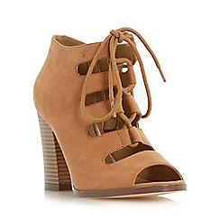 Head Over Heels by Dune - Tan 'Morven' lace up peep toe sandal