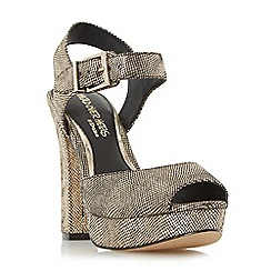 Head Over Heels by Dune - Gold 'Myli' two part platform sandal