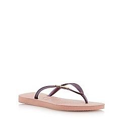 Havaianas - Pink slim logo metallic flip flop
