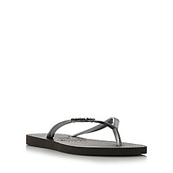 Havaianas - Black slim metallic logo flip flops