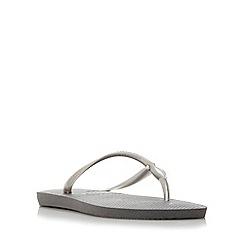 Havaianas - Grey slim swarovski flip flops