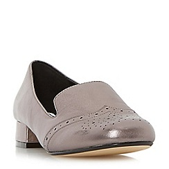 Dune - Silver 'Garcon' brogue detail block heel loafer shoe