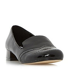Dune - Black 'Garcon' brogue detail block heel loafer shoe