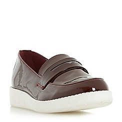 Head Over Heels by Dune - Maroon 'Glider' flatform penny loafer shoe