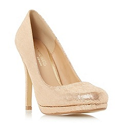 Head Over Heels by Dune - Natural 'Andrea' round toe heeled platform court shoe