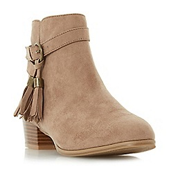 Head Over Heels by Dune - Taupe 'Patrice' tassel detail ankle boot