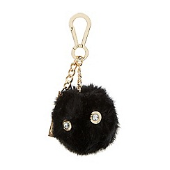 Dune - Black 'Jenson' crystal eye pom pom bag charm