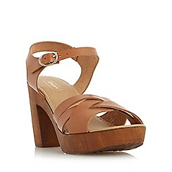 Dune - Tan 'Jani' cross strap wooden effect platform sandal