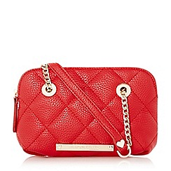 Head Over Heels by Dune - Red 'Heatherr' small quilted shoulder bag