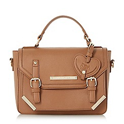 Head Over Heels by Dune - Tan 'Hayley' metal corner detailed satchel bag