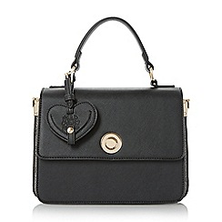 Head Over Heels by Dune - Black 'Hazels' circular lock boxy top handle bag