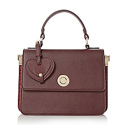 Head Over Heels by Dune - Dark red 'Hazels' circular lock boxy top handle bag