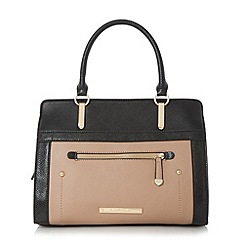 Head Over Heels by Dune - Taupe 'Hannah' colour block top handle bag