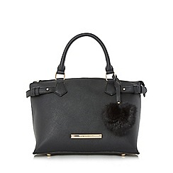 Head Over Heels by Dune - Black 'Harlene' saffiano look tote bag