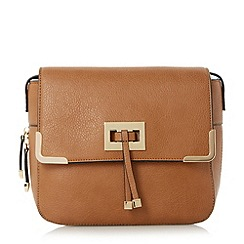 Head Over Heels by Dune - Tan 'Harlowe' metal trim cross body bag
