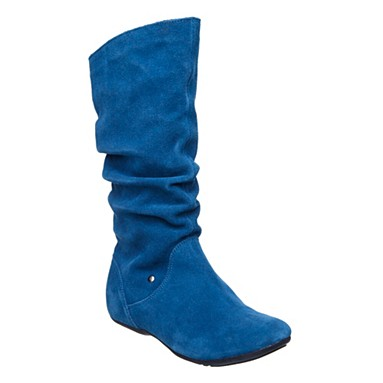 Pull on calf height flat casual boot - Flat boots - Shoes & boots  :  blue suede fashion blue boots