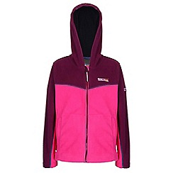 Regatta - Girls Pink/ blackcurrent marty zip-up hodded fleece