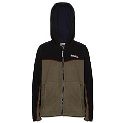 Regatta - Boys Khaki/ black marty zip-up hodded fleece